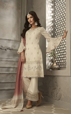 Cream embroidered Georgette semi stitched salwar with dupatta