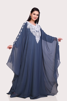 grey Georgette Zari Work Islamic Kaftan