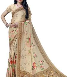 Beige woven bemberg saree with blouse