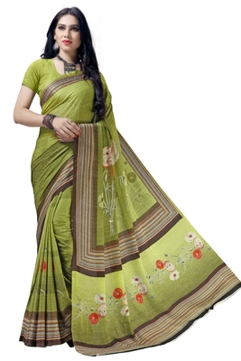 Green woven bemberg saree with blouse