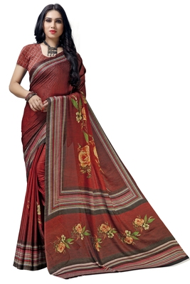 Red woven bemberg saree with blouse