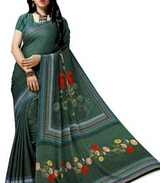 Turquoise woven bemberg saree with blouse