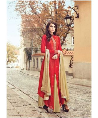 Red embroidered art silk salwar with dupatta