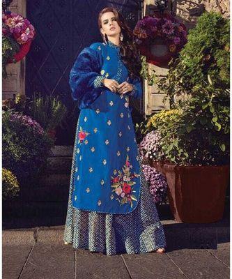 Blue embroidered art silk salwar with dupatta