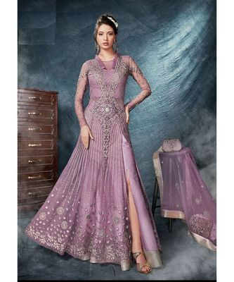 Purple embroidered Net salwar with dupatta