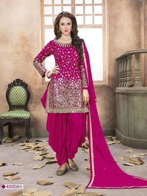 Rani-pink embroidered taffeta salwar