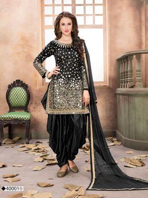 Black embroidered taffeta salwar