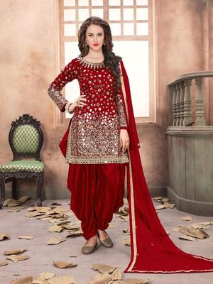 Blood-red embroidered taffeta salwar
