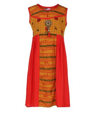 orange cotton regular kurti