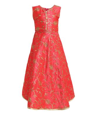 red silk blend  gown