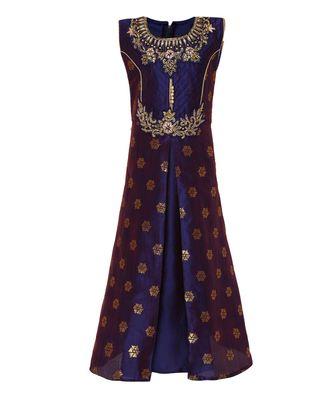 navy blue silk blend  gown