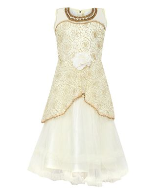 White embroidered nylon kids girl gowns
