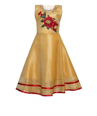 Yellow Embroidered Nylon Kids Girl Gowns