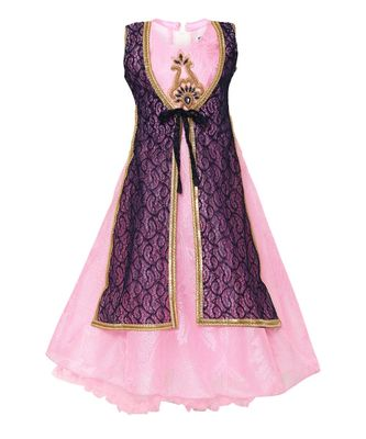 Pink embroidered nylon kids girl gowns