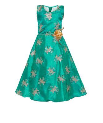 green silk blend  gown