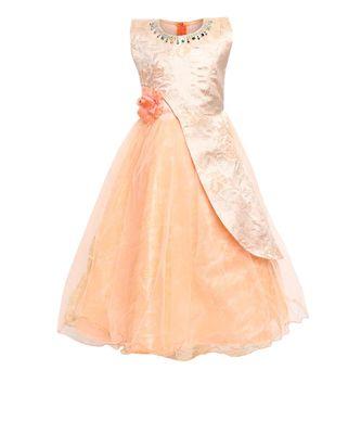 beige net party gown