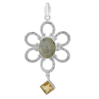 Multicolor labradorite pendants