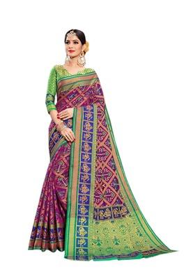 Purple woven silk saree with blouse