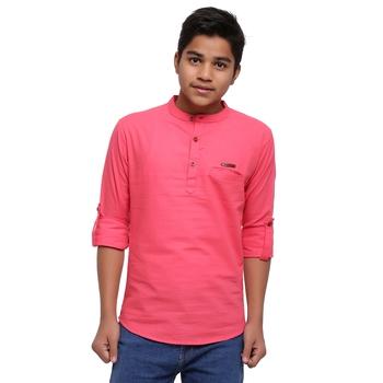 Pink plain cotton kids-tops