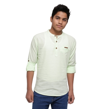 Light Green plain cotton kids-tops