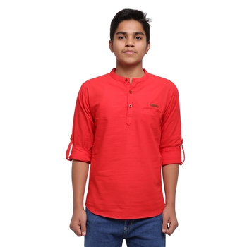 Red plain cotton kids-tops