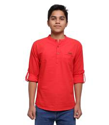Red plain cotton kids-tops