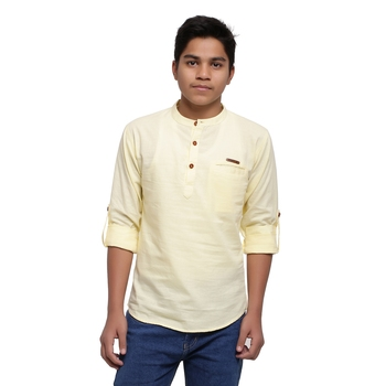 Yellow plain cotton kids-tops