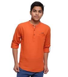 Orange plain cotton kids-tops