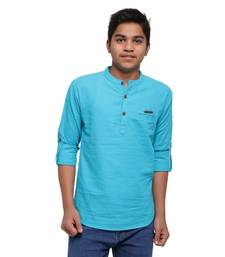 Turquoise plain cotton kids-tops