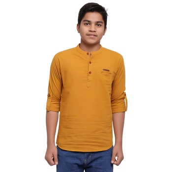 Mustard plain cotton kids-tops