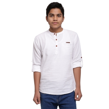 White plain cotton kids-tops
