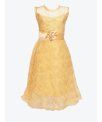 beige net gown