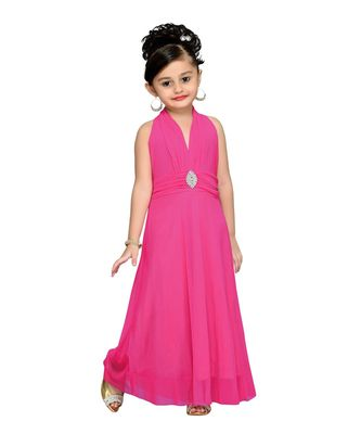 Pink embroidered net kids girl gowns