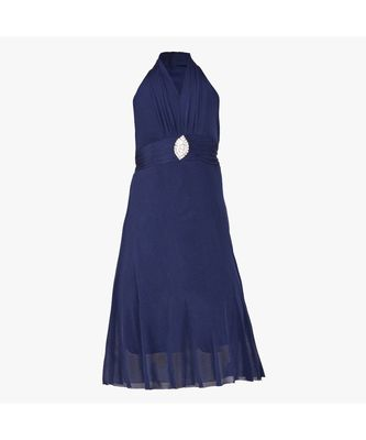 Dark Blue Embroidered Net Kids Girl Gowns