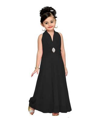 Black embroidered net kids girl gowns