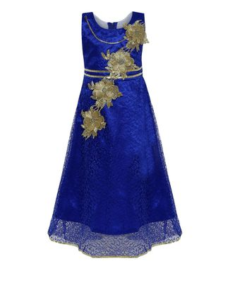 Blue embroidered net kids girl gowns