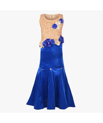 Blue embroidered polyester kids girl gowns