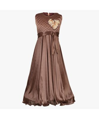 Brown embroidered polyester kids girl gowns