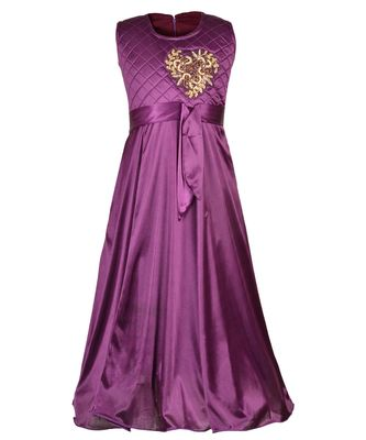Purple embroidered polyester kids girl gowns
