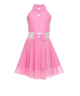 Pink embroidered nylon kids frocks