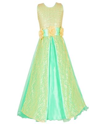 Green embroidered net kids girl gowns