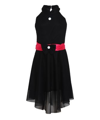 Black embroidered nylon kids frocks