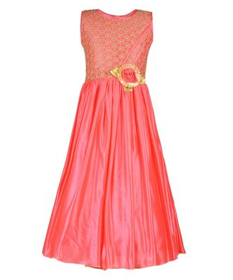 Pink embroidered polyester kids girl gowns