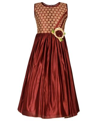 Brown embroidered Satin kids girl gowns