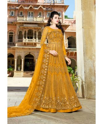 Yellow embroidered Net salwar with dupatta