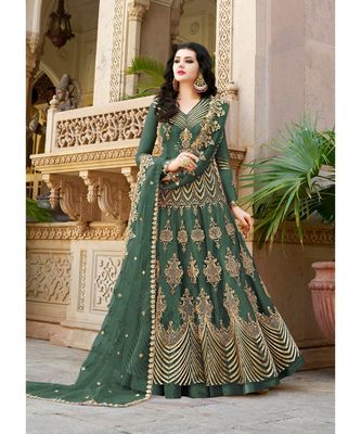 Green embroidered Net salwar with dupatta