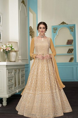 Golden embroidered georgette salwar