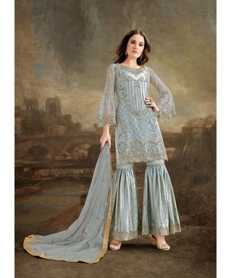 Grey embroidered Net salwar with dupatta