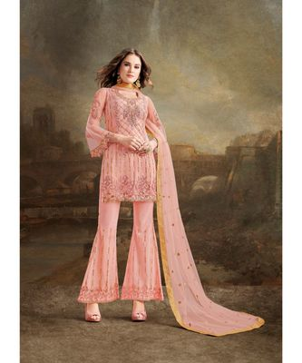 Peach Embroidered Net Salwar With Dupatta