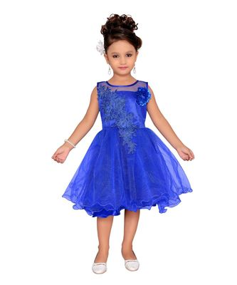 blue embroidered Nylon kids frocks